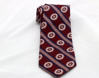 Men's Vintage Burgandy Blue White Double Knit Polyester Tie/ Retro Red White Blue Necktie