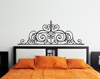 Wrought Iron Headboard Vinyl Wall Decal Design - fits above beds, couches and/or on any smooth non-porous surface U003