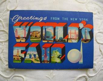 1939 World's Fair Vintage Postcard Folder