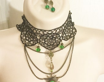 Green Vintage Cameo Necklace/Free Shipping