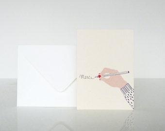 """1 """"Merci"""" À la main card - 1 carte """"Merci"""" À la main"""