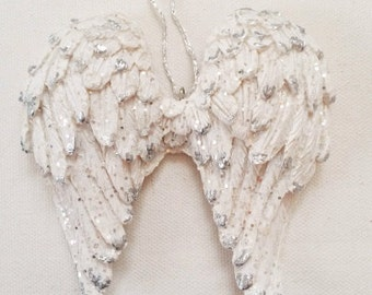 Angel wings, angel wing decor, small angel wings, angel wings ornament, white wings, white angel wings, French Nordic, wing door hanger