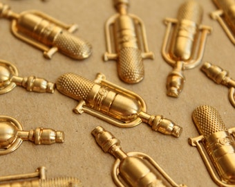 6 pc. Raw Brass Studio Microphones: 36mm by 14.5mm - made in USA | RB-672
