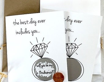 will you be my Jr. Bridesmaid? - scratch off card - black white - hipster modern wedding
