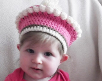 Baby Beret Infant Hat Crocheted Cupcake in Neopolitan Colors Handmade Machine Wash and Dry