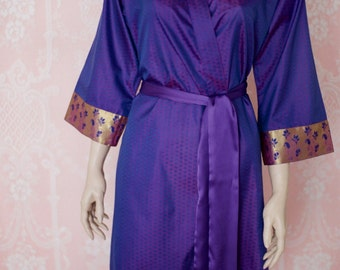 The queen's boudoir. Soft faux silk brocade dressing gown in a royal blue and purple. Silk brocade robe. Medium. Silk brocade dressing gown.