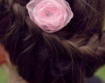 FLOWER HAIR CLIP with Swarovski crystals - Light Pink Organza (small)