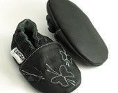 soft sole baby shoes infant handmade butterfly black 6 12 m ebooba BF-27-B-T-2
