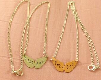 Supernatural Gabriel or Castiel Wings Hand Stamped Necklace - Supernatural Jewelry Destiel Necklace Sabriel Gabriel Jewelry Castiel Necklace