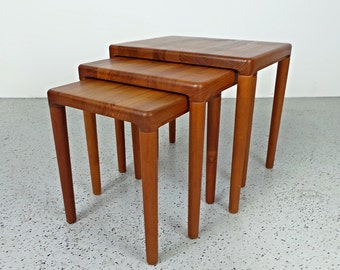 mid century Danish modern solid teak nesting tables
