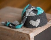 Upcycled Newborn Hat Gray and Teal Argyle with Heart newborn photography prop READY TO SHIP Upcycled Newborn Boy Hat Knit Stocking Hat Cap