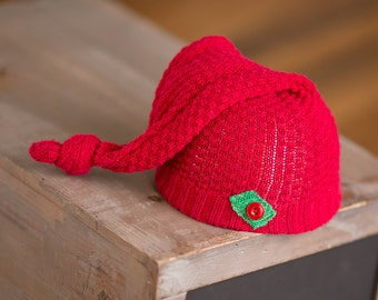 Newborn Christmas Hat, Red and Green Hat, Newborn Christmas Props, Newborn Santa Hat, Newborn Elf Hat, Stocking Cap, Upcycled Newborn Hat