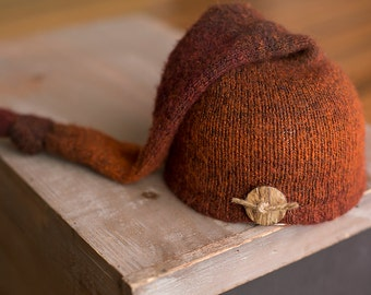 Newborn Hat READY TO SHIP Orange and Brown Upcycled Sleepy Time Hat With Button Newborn Photo Prop, Newborn Boy Hats, Newborn Boy Props