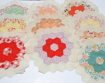 Vintage Honeycomb Handmade Quilt PIeces, Appliques for Quilting . Lot of 10, Feedsack Fabric Quilt Pieces