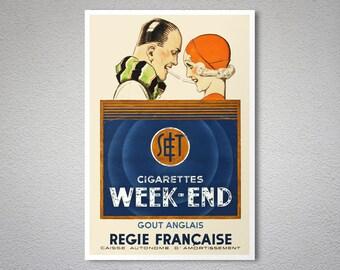 Cigarettes Week End Regie Francaise Vintage Poster By Rene Vincent