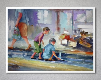 Children's Play Watercolor Painting by Faruk Koksal - Print on 290 gr. Textured Fine Art Paper