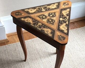 STORE WIDE SALE Vintage Italian Inlaid Wood Music Table - Jewelry Box - End Table