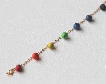 Chakra Fruits Bracelet - Food Jewelry - Fruits Bracelet - Vegan - Raw - Yoga - Yoga Jewelry - Rainbow