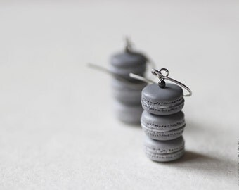Shades of Gray Macarons Earrings - Food Jewelry - Macaron Earrings - Fifty Shades of Grey - 50 Shades of grey - Paris - Grey Macaron