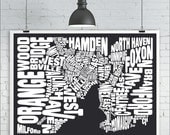New Haven Map Print - Custom New Haven Typography Map with Neighborhoods and Landmarks, Various Colors, Type Map Art Print Poster