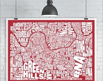 Nashville Map Print - Custom Nashville Typography Map with Neighborhoods and Landmarks, Various Colors, Type Map Art Print Poster