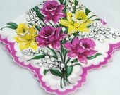 Vintage Hankie, Stunning Floral Design,  Beautiful Hankie, Handkerchief , Perfect for Gifting, Crafting, Quilting, Framing #U13