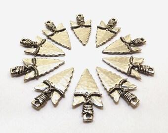Ten (10) Pewter Arrowhead Charms/Pendants - 5038