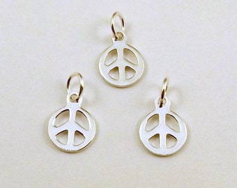Three (3) Small Sterling Silver Peace Sign Charms  -  1553