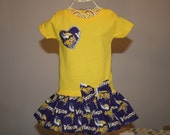 Baby Girls to Teens MINNESOTA VIKINGS Tshirt Dress Infant Toddlers School Game Day Football Dresses BOW Headband Available Select Tab 4 Size