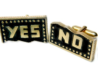 Yes No Ballot Cufflinks Swank Novelty Vintage Accessory Suit And Tie For Men Political Cufflinks From Swank
