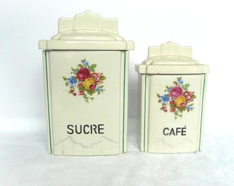 French storage jars - vintage storage jars - Art Deco French storage jars - cafe est sucre canisters - 1930s French canisters