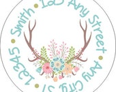 Reindeer Antlers Flowers, Pastel Round Address Labels Stickers for use as Gift Tags, Party Favors, Address Labels & Class Parties