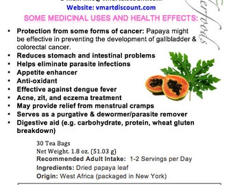Simply Natural 100% Organic Caffeine Free Papaya Leaf Herbal Tea- 30 Tea Bags