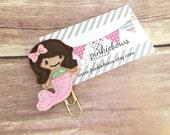 Brown/Gold/Mermaid/Felt Applique Paper Clip/Bookmark/Journal Marker/Planner Clip