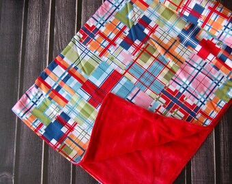 Sale Multi Colored Plaid Unisex Modern Minky Baby Blanket