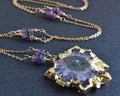 Amethyst Stalactite Necklace, Raw Amethyst Jewelry, 14K Gold Filled, Handmade, Geode Slice, February Birthstone, Multi Color Gemstones