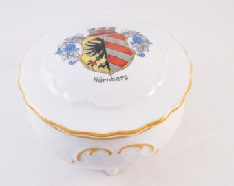 German Armorial(Nurnberg) Footed Porcelain Jar. Trinket Box, Boudoir Box, Candy Jar, Mint Jar, Get Well Gift, Fathers Day Gift, Collectible
