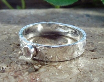 Wholesale Ring Blank Silver Chisled Band 3mm or 4mm Band - Wholesale Ring, 4mm Band Ring, Silver Band Ring, Design Your Ring, DIY Jewelry