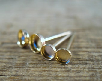 Stud/Post Blanks Gold Filled 20 gauge - Post Earring Blanks, Gemstone Cup Ear Blanks, Stud Earring Blanks, Post Earring Blanks, 3mm, 4mm