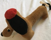 Mid Century Stuffed Dachshund with Red Beret - Engel Import New York No. 81 Made in Japan - Excellent Condition