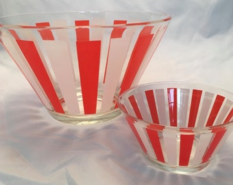 Mid Century Modern Chip & Dip Set - Orange and White Stripe - Beautiful!! Excellent Condition!