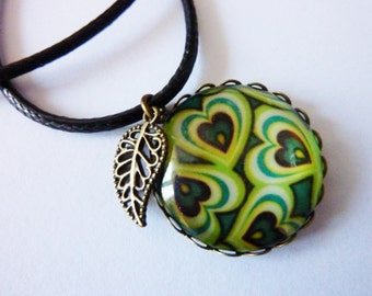 Goa Ethno Leather Necklace waxed cord Leaf unique Jewelry