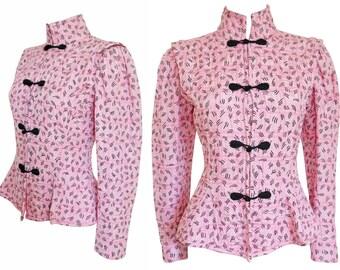 Emanuel Ungaro Vintage Peplum Jacket Blazer Baby Pink Stand-Up Collar Asia Style US Size 4 XS