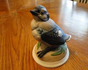 Boehm Collectible Baby Blue Jay Sculpture, #436, Porcelain Baby Bird, Vivid Wildlife Figurine, Animal Figure