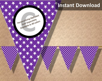 Purple Star Halloween Bunting Pennant Banner Instant Download, Party Decorations