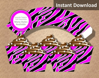 Zebra Cupcake Wrappers Instant Download, Black, Hot Pink, White, Animal Print, Rock Star, Party Decorations