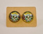 Holiday Earrings // Skull Jewelry // Day of the Dead Jewelry // Halloween // Blue Flower Sugar Skull // Candy Skull Antique Bronze Earrings