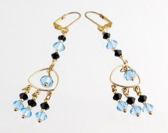 Denim Blue and Black Crystal Chandelier Earrings, Crystal Earrings, Jewelry Accessories, Gifts