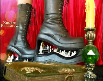 """Coven Collection: """"Seance"""" Platform Ouija Witch Boots"""