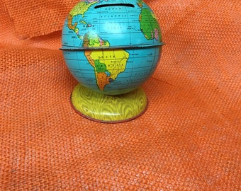 J. Chein Toy Globe Bank USSR  Siam French Indo China Mongolia Persia Chinese Republic